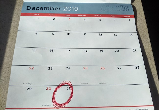 A calendar for December 2019, with December 31 circled in red.