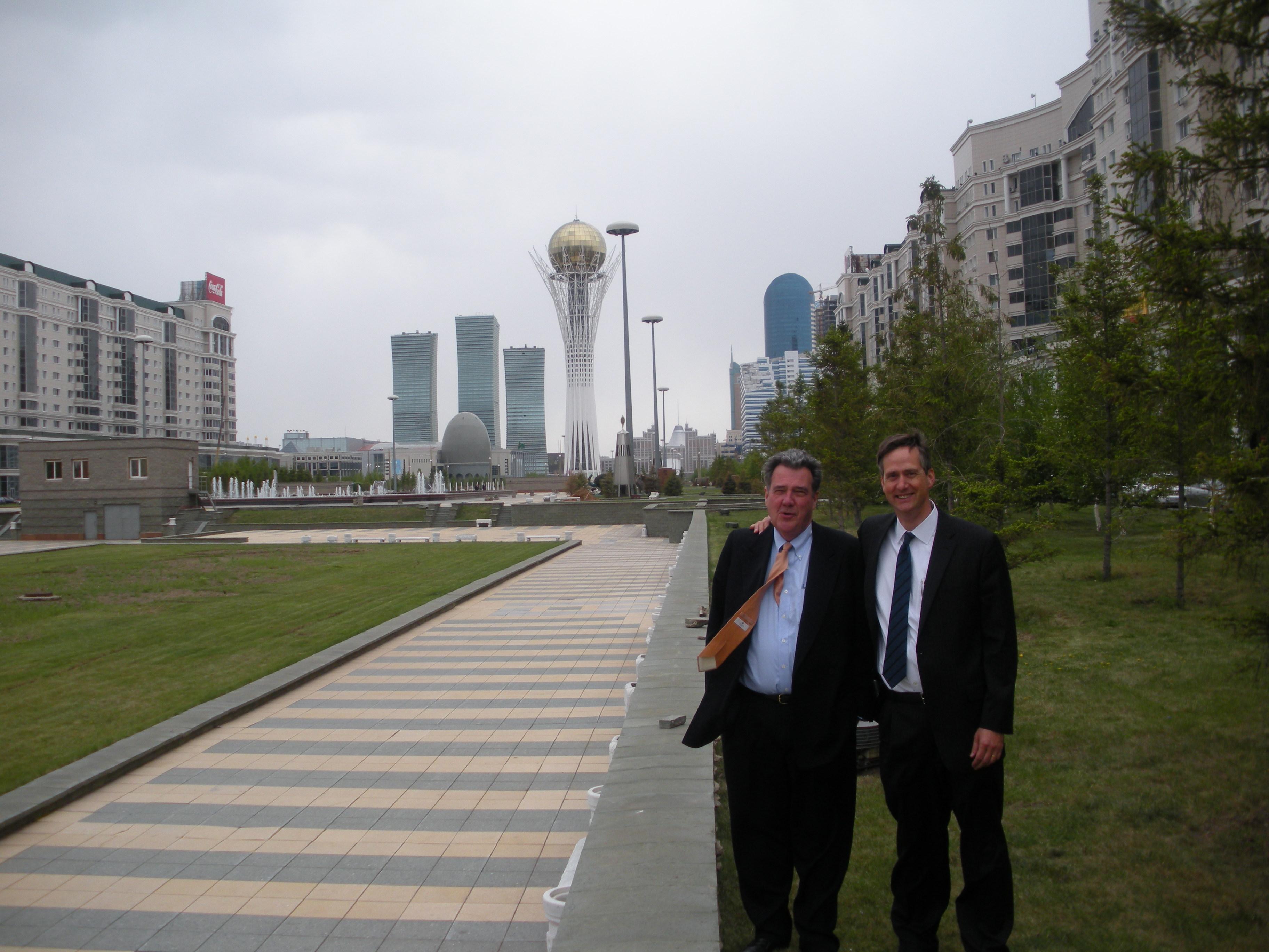 Professors Alan Ruby and Matt Hartley in Kazakhstan.