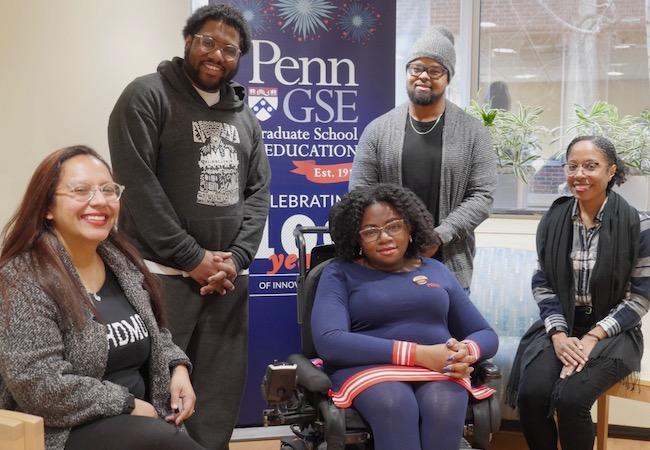 Penn GSE doctoral students Janay Garrett, Daris McInnis, Christopher R. Rogers, Laronnda Thompson, and Latricia Whitfield pose for a portrait.