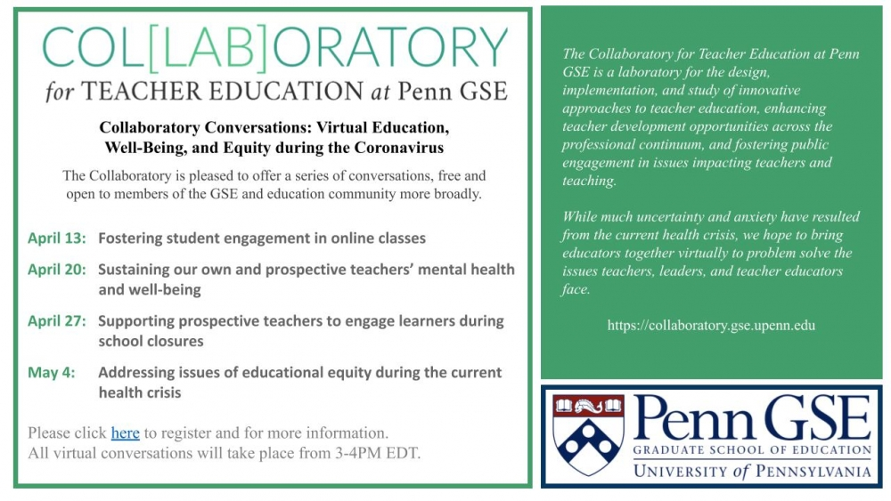 Collaboratory Conversations Flyer with Penn GSE logo