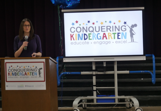 Katie Barghaus speaks at Conquering Kindergarten launch