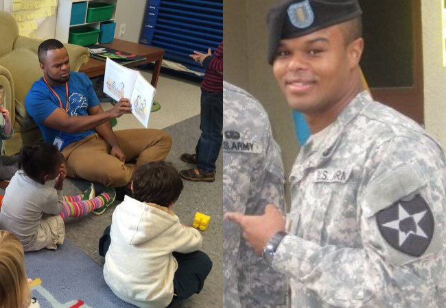 Daris McInnis, left, reading to pre-kindergarten students in Washington, DC, and right, serving in the Army.