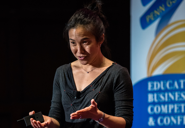 Angela Duckworth talks at the 2017 Milken-Penn GSE Education Business Plan Competition.