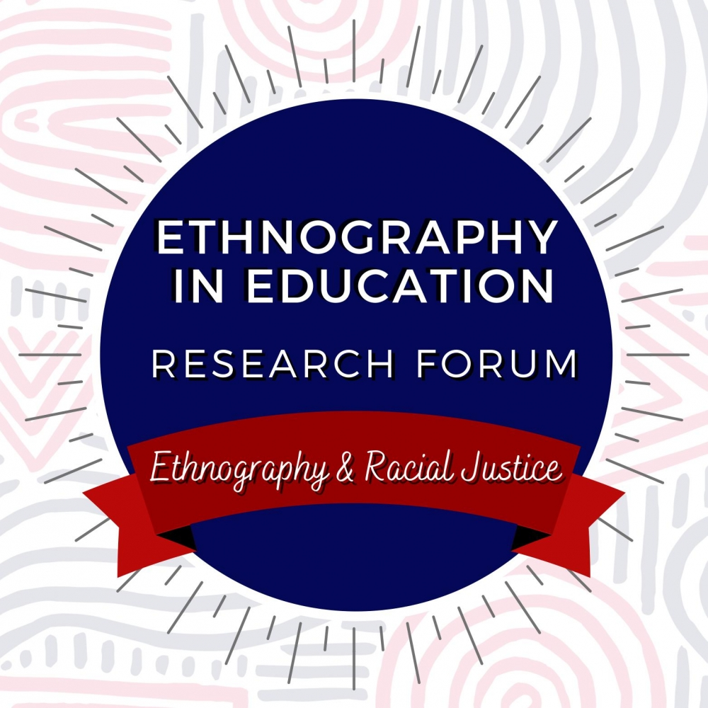 Logo of the 2021 Ethnography in Education Research Forum depicting a circle and banner with the forum's name and theme: Ethnography and Social Justice.