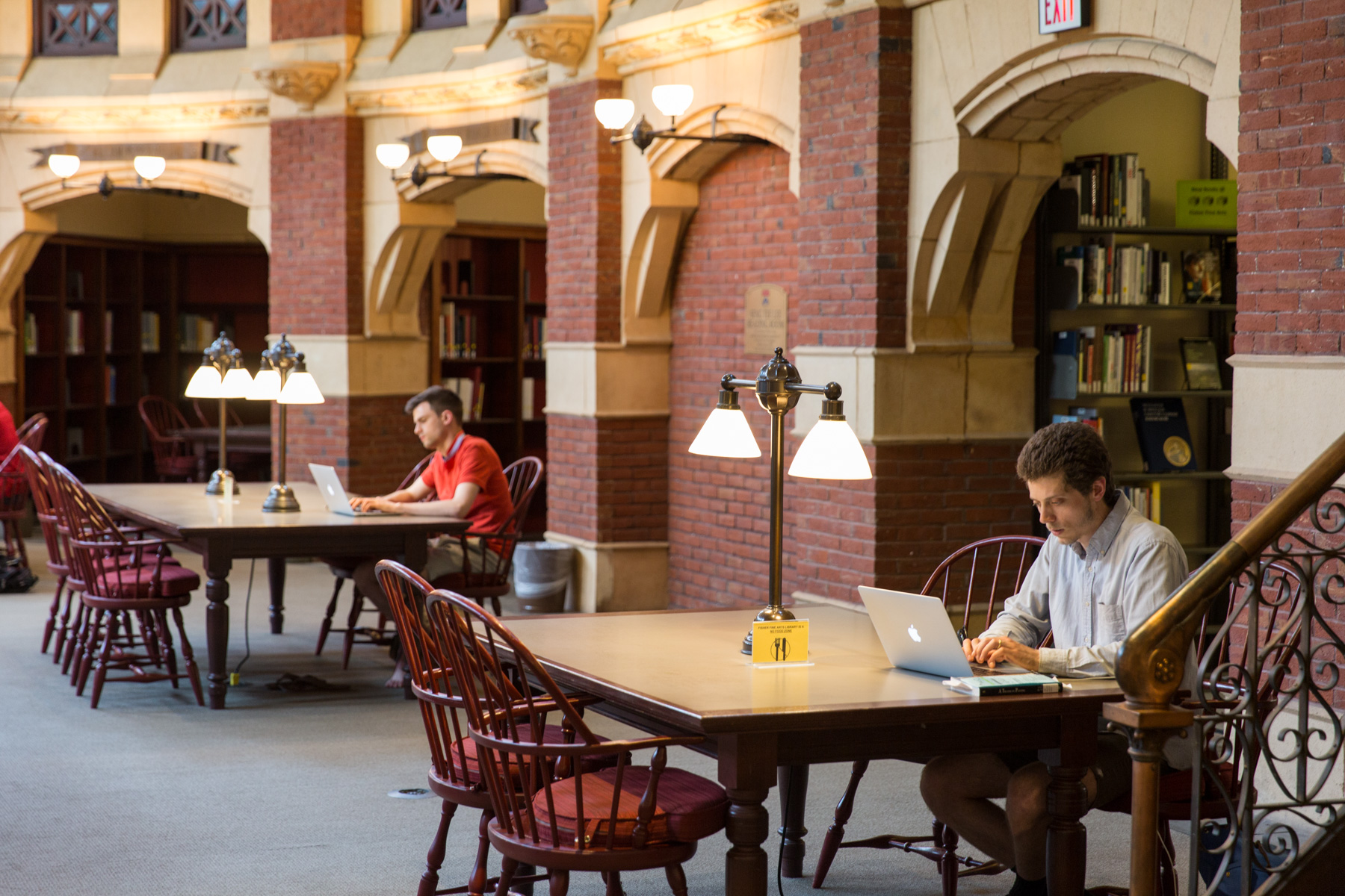 A student studies in the Fischer Fine Arts Library.