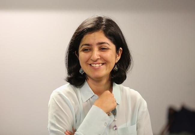 Ameena Ghaffar-Kucher in a classroom.