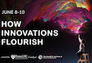 An illustration promoting the How Innovations Flourish symposium, noting the dates June 8-10