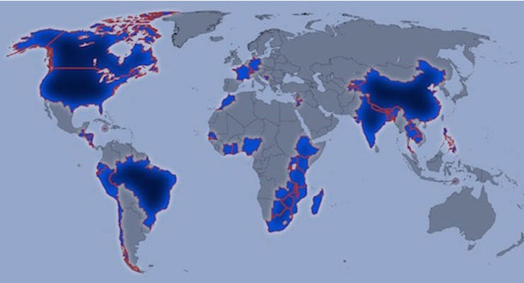 Map of the world. Countries where IEDP interns have worked are highlighted.