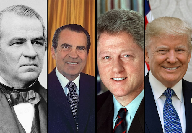 Collage of 4 United States presidents: Johnson, Nixon, Clinton, and Trump