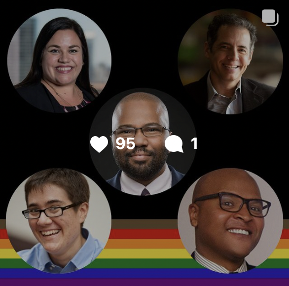 Instagram post with 95 likes, showing five speakers who spoke at an event.