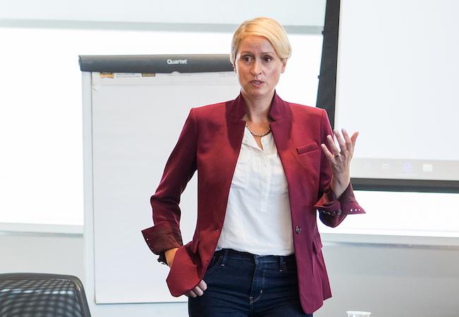 Kandi Wiens teaching a class.