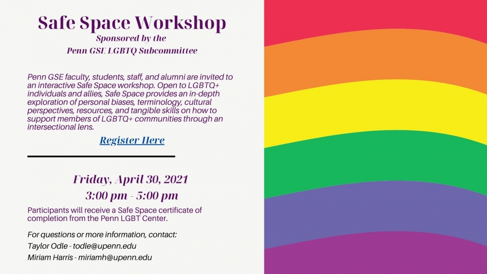 Flier for the event showing a rainbow graphic.