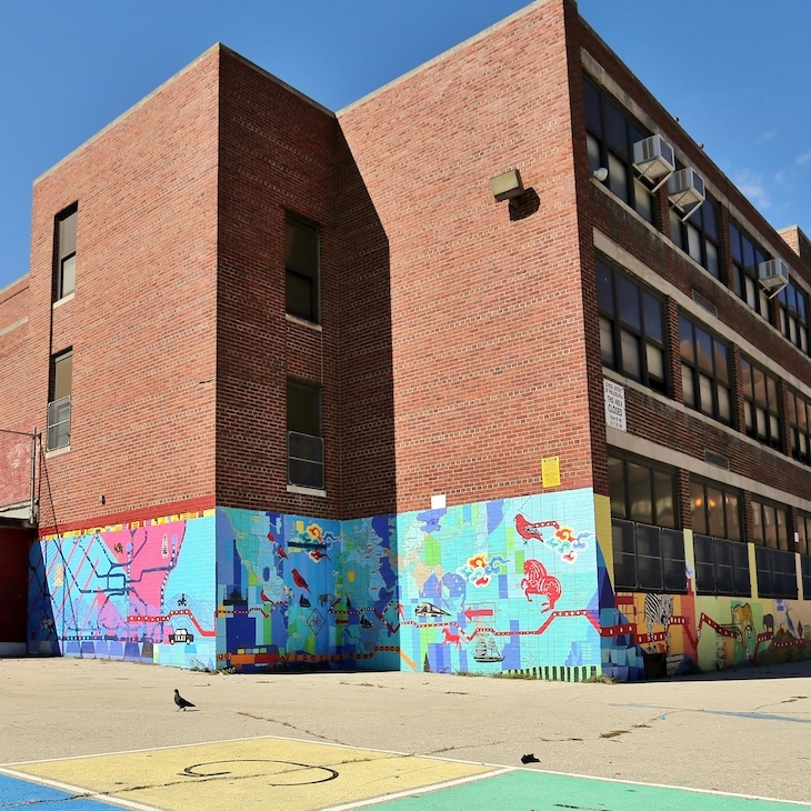 Exterior and playground of the Lea School in West Philadelphia.