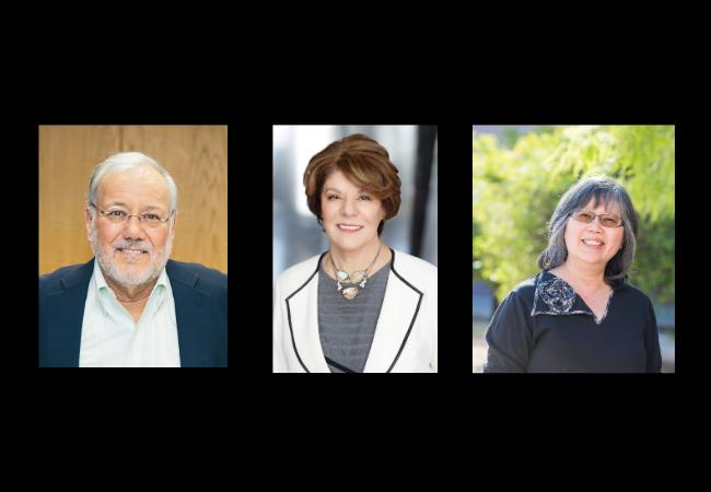 Winners of the 2020 Harold W. McGraw, Jr. Prize in Education, from left, Joseph Krajcik, Estela Bensimon, and Michelene Chi.