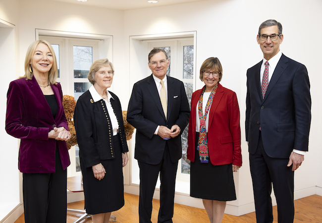 Penn President Amy Gutmann, Sue McGraw, Harold McGraw III, Penn GSE Dean Pam Grossman, and Catalyst @ Penn GSE Director Michael Golden at the February 2020 event launching the McGraw Prize partnership with Penn.