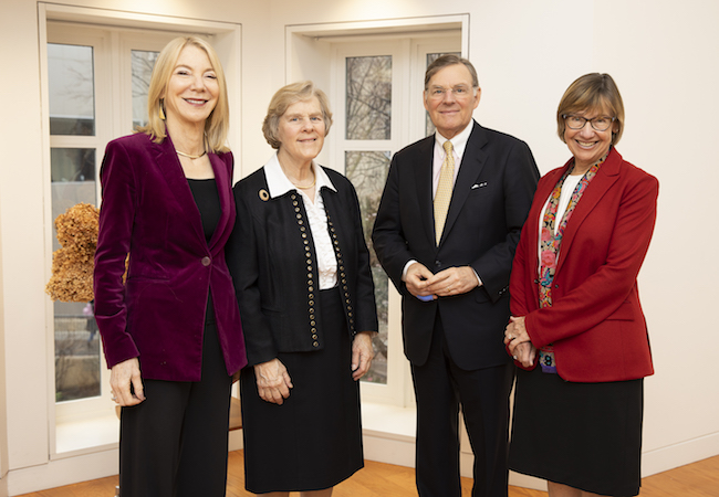 Penn President Amy Gutmann, Suzanne McGraw, Harold McGraw III, and Penn GSE Dean Pam Grossman