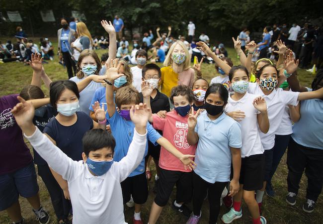 Children at PAS celebrate