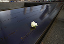 A white rose is left inside an engraved name at the 9/11 memorial in New York City.