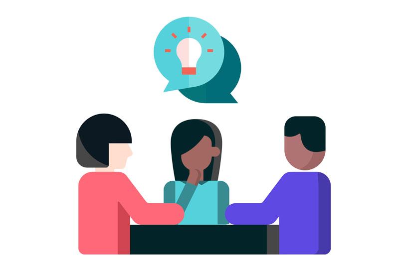 three teachers and an idea lightbulb