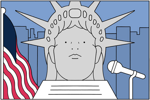 Illustration of the Statue of Liberty at a speaker's podium with a US flag in the background