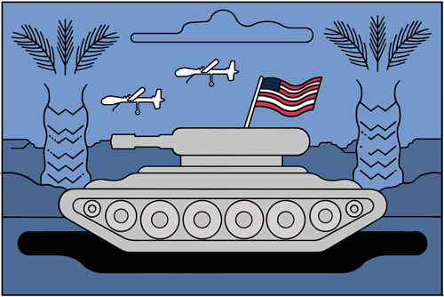 Illustration of a tank with an American flag with two military drones in the sky and palm trees in the background