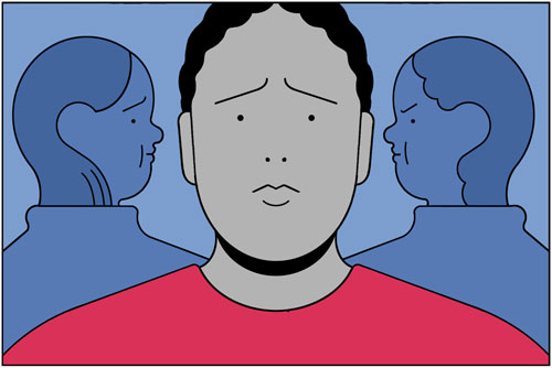 Illustration of a person facing forward with a sad look and two people in the background looking at them – one person looks disapproving and the other person looks scared.