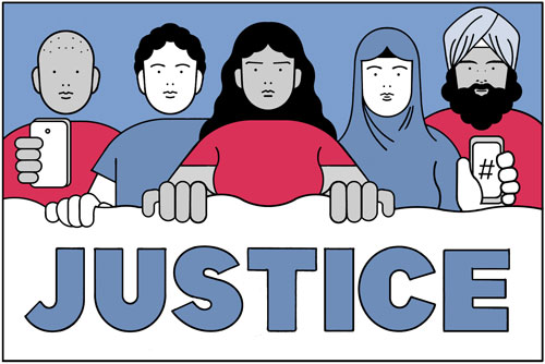 Illustration of a diverse group of people standing behind a banner that says 'Justice', two people are holding cell phones
