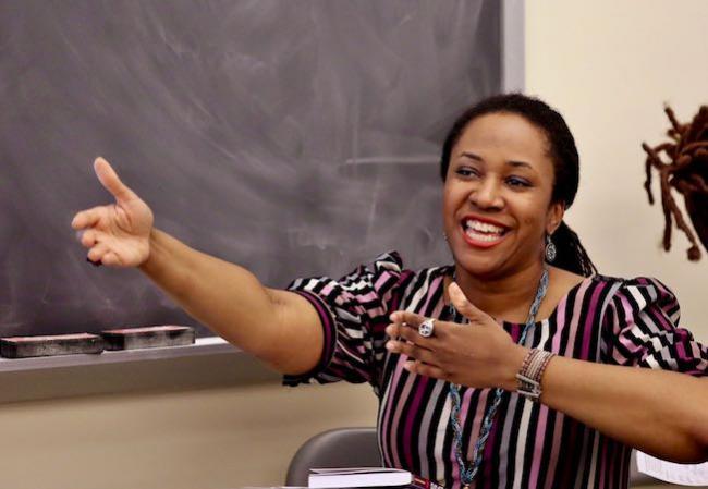 Ebony Thomas in Classroom Pointing