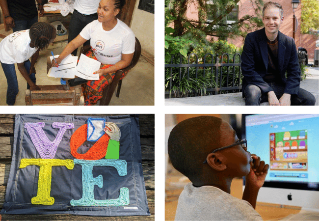 A collage of images, including a portrait of Michael Gottfried, a student at a laptop, a vote sign, and Jasmine Blanks Jones sitting with a child.