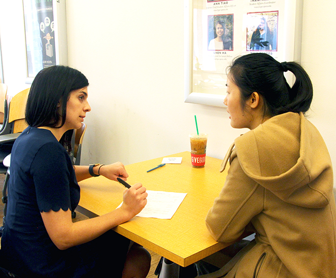 Alumna helping student