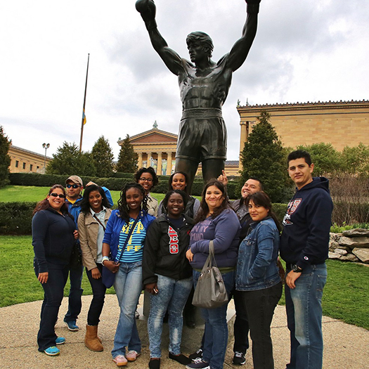 Group of Penn GSE Students at the Art Museum Rocky Statue