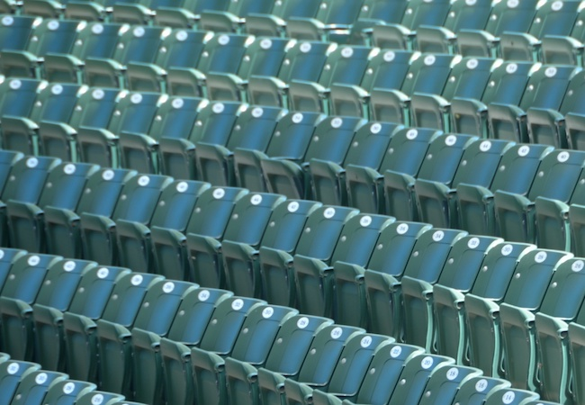 Empty seats in a stadium.