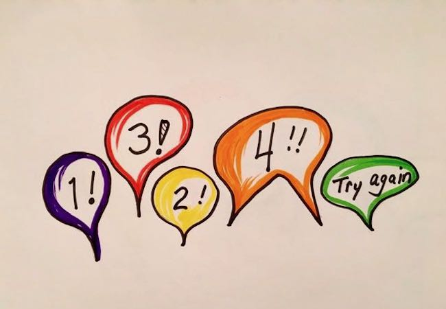 Speech bubbles with number counts inside them representing the theater game