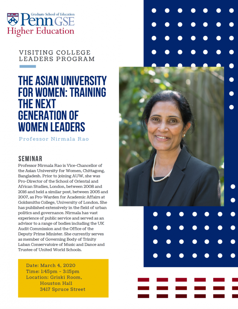 """""""The Asian University for Women: Training the next generation of women leaders"""" Professor Nirmala Rao is Vice-Chancellor of the Asian University for Women (AUW), Chittagong, Bangladesh.  Prior to joining AUW, she was Pro-Director of the School of Oriental and African Studies (SOAS), London, between 2008 and 2016 and held a similar post, between 2005 and 2007, as Pro-Warden for Academic Affairs at Goldsmiths College, University of London."""