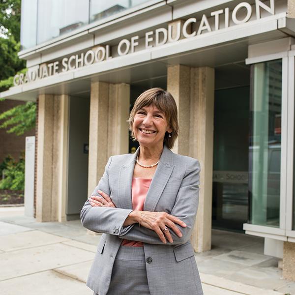 Dean Pam Grossman stands outside the Penn Graduate School of Education.