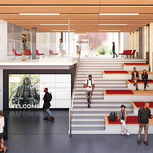 A rendering of the Penn GSE building expansion shows a lobby with a front desk, wide staircase, and spaces where individuals are seated.