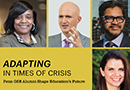 "Headshots of four alumni, two women and two men, appear on a dark yellow background with the headline ""Adapting in Times of Crisis: Penn GSE Alumni Shape Education's Future."