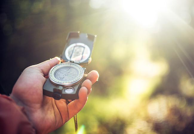 SA hand holds a compass amidst a blurred outdoor background.