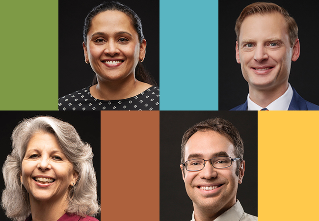Headshots of faculty members Betty Chandy, Zachary Herrmann, Caroline Watts, and Ryan Baker are separated by colorful rectangles