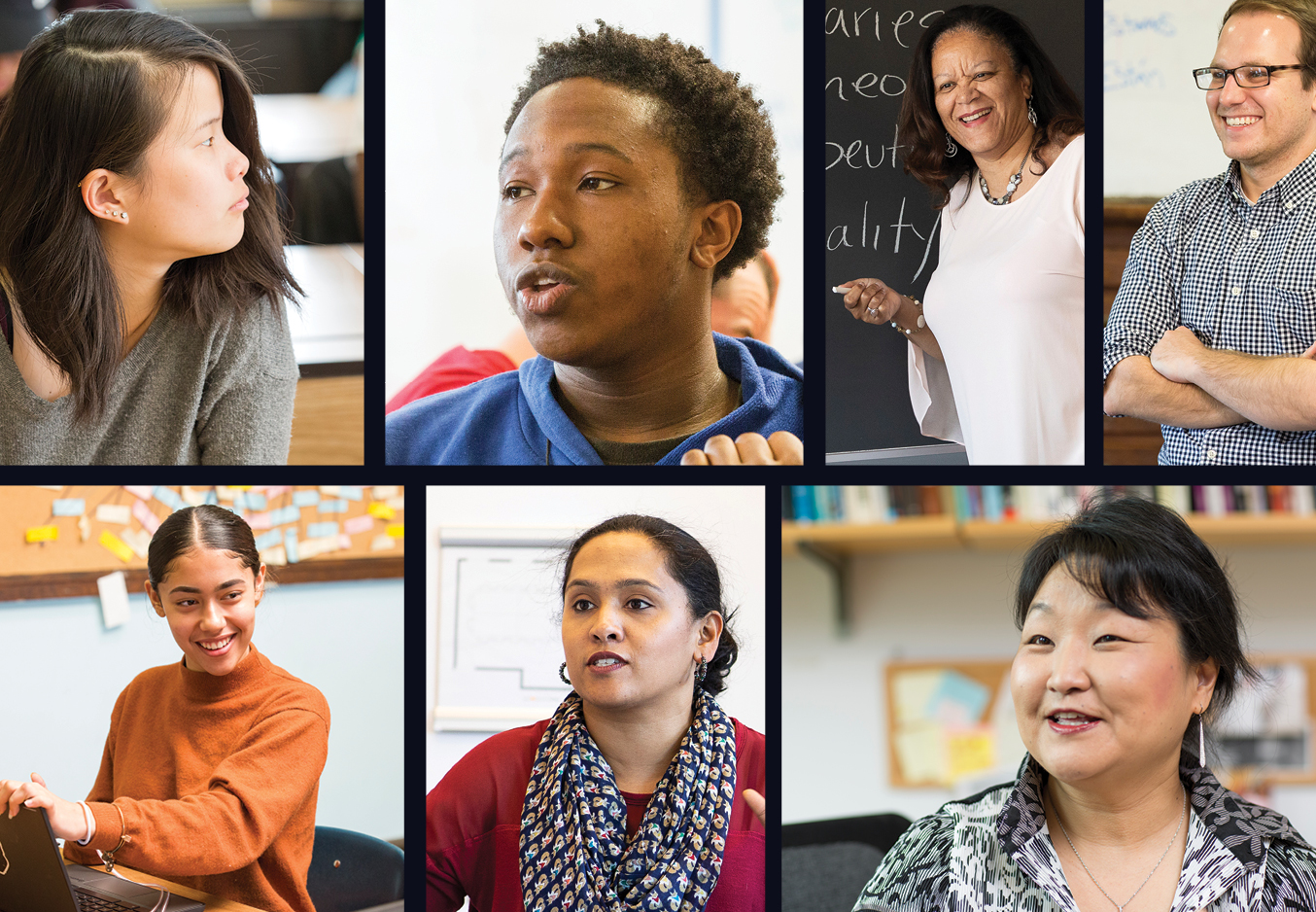 Seven tiled images of GSE faculty, Philadelphia students, and teachers in classrooms appear in rectangles.