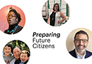 """Circle-shaped headshots of three Penn GSE alumni appear against a white background with the headline """"Preparing Future."""""""