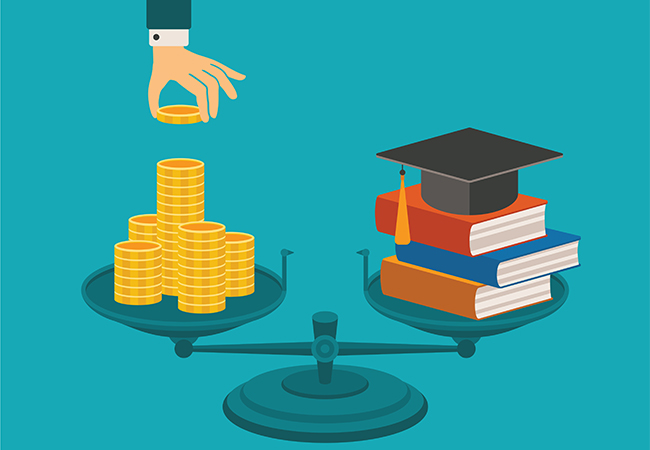 Drawing of a hand placing coins on one side of a balanced scale with textbooks and a graduation cap on the other side