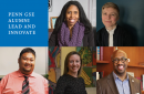 "Headshots of five alumni appear in a checkerboard pattern with a blue square in the upper left that says, ""Penn GSE Alumni Lead and Innovate"""