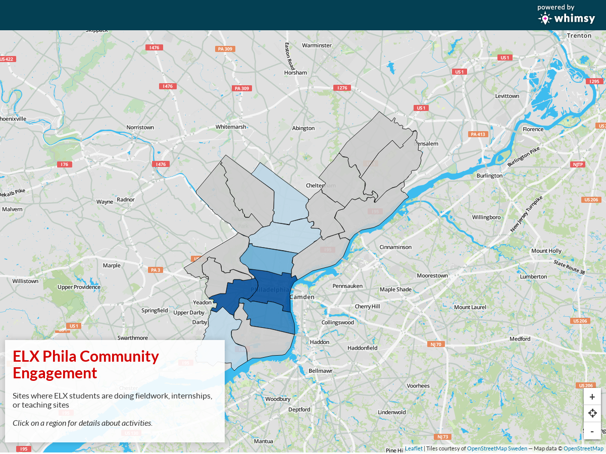 A screenshot of an interactive map of Philadelphia with different regions color-coded
