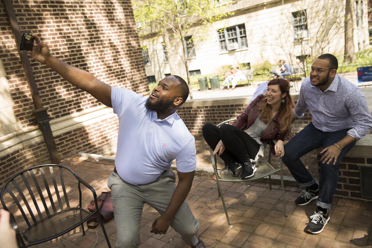 Students take a selfie.