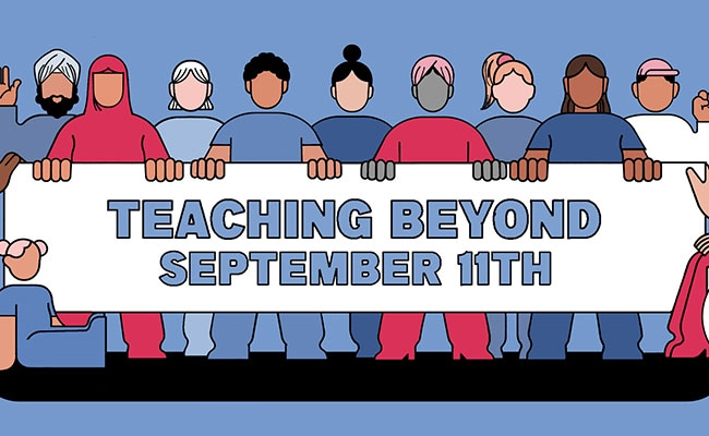 Racially diverse group of people holding a banner that reads Teaching Beyond September 11th.