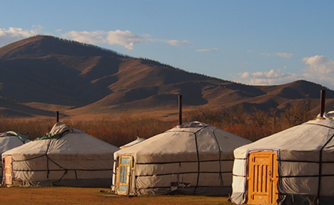 Landscape of traditional Mongolian gers