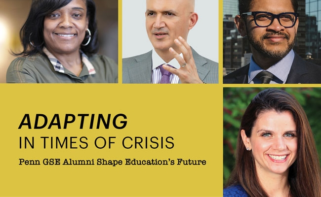 """Headshots of two alumni, a woman and a man, appear on a dark yellow background with the headline """"Adapting in Times of Crisis: Penn GSE Alumni Shape Education's Future."""""""