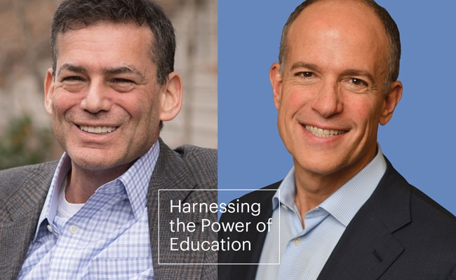 """Headshots of David Roberts (left) and Doug Korn (right) appear with a boxed headline that says """"Harnessing the Power of Education.""""]"""