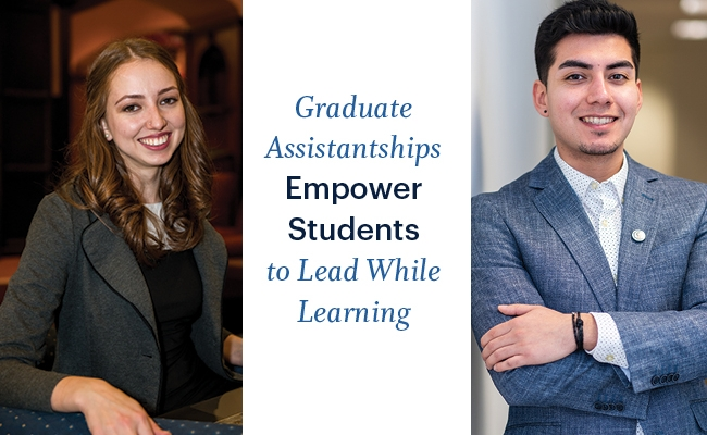 """A young woman sits in an armchair and a young man stands folding his arms. Both are smiling and wearing professional attire; a white rectangle between them says """"Graduate Assistantships Empower Students to Lead While Learning"""""""